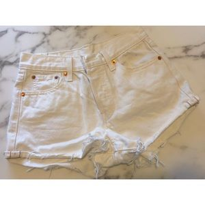 White Levi's High Waisted Wedgie Shorts